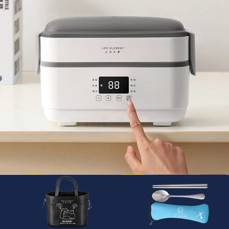 Multifunctional 220V Electric Lunch Box Double Stainless Steel Liner Insulation Portable Rice Cooker