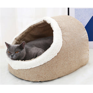 Washable Warm Pet Cat Bed With Free Cushion Pillow