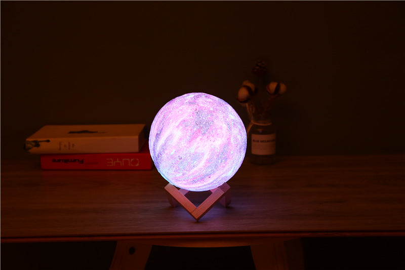 Colorful Creative 3D Printing Star and Moon USB LED Night Light Galaxy Lamp