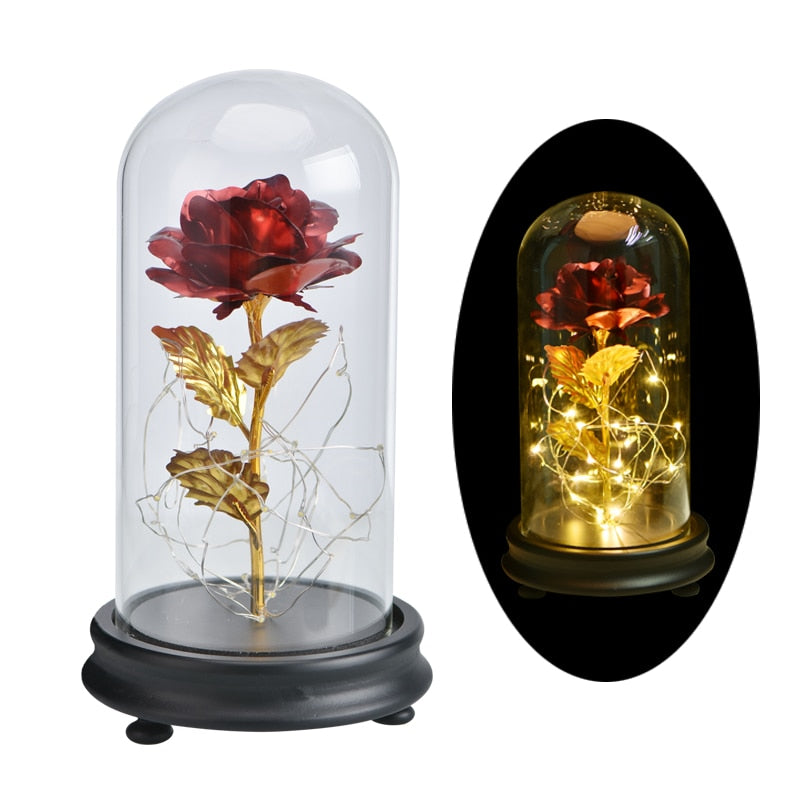 Beauty and Beast  Eternal Rose in Glass with LED Night lights for Valentine's Day Gift