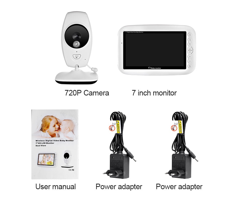720P HD Screen Night Vision Intercom Wireless Baby Monitor