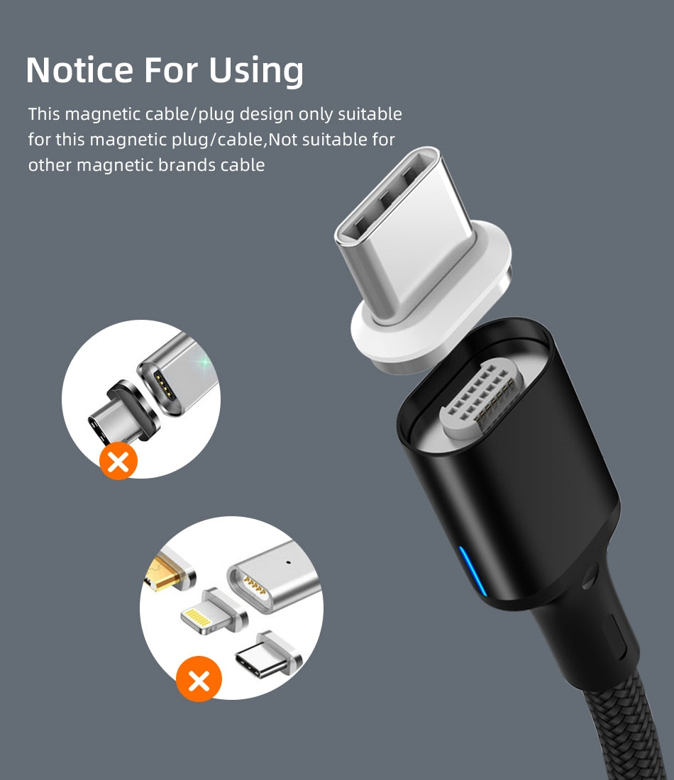 High Quality USB 3.1 Magnetic Cable 100W Quick Charge 4.0 Type C for Samsung S10 S9 5A and MacBook Pro