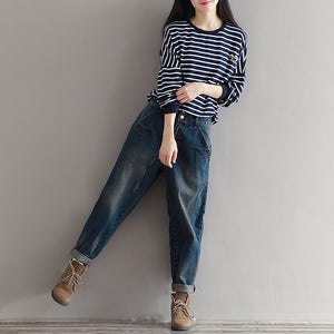 New Autumn Full Length Zippers Button Casual Loose Jeans for Women