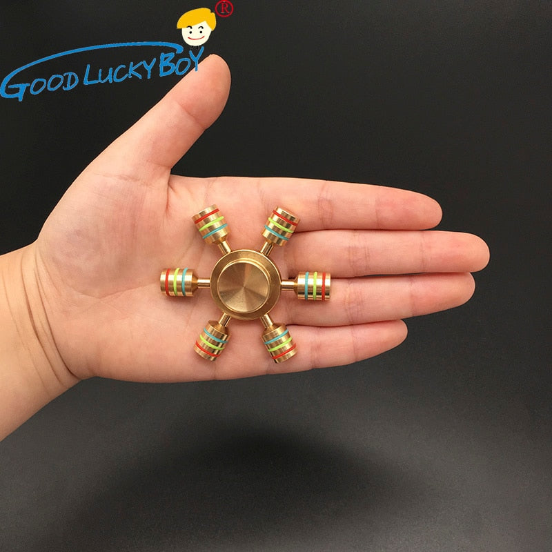 Rainbow Metal Copper Bearing Brass Fidget Spinner For Adults