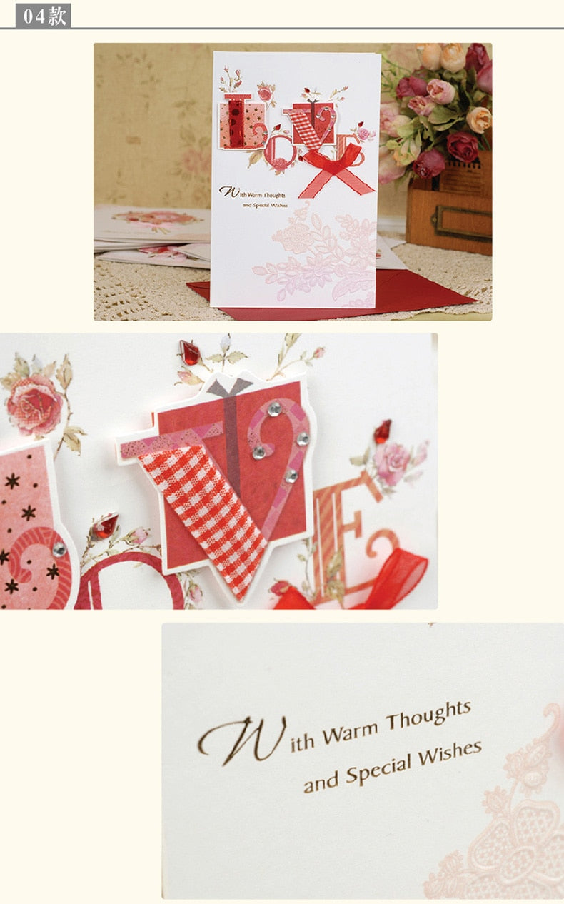 8pcs/lot Love Forever Theme Greeting Cards