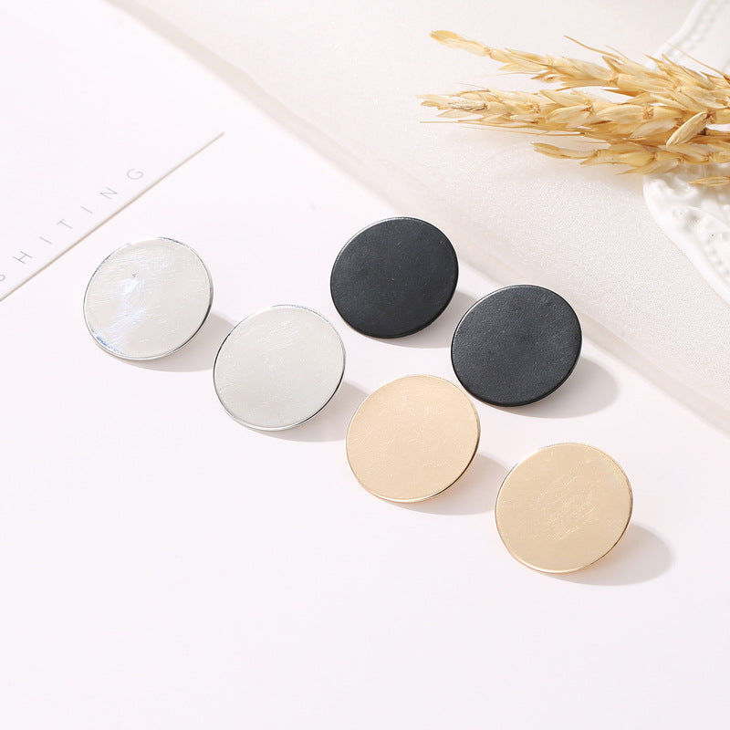 New Fashion Geometric Round Shape Metal Minimalist Wild Stud Earrings for Women