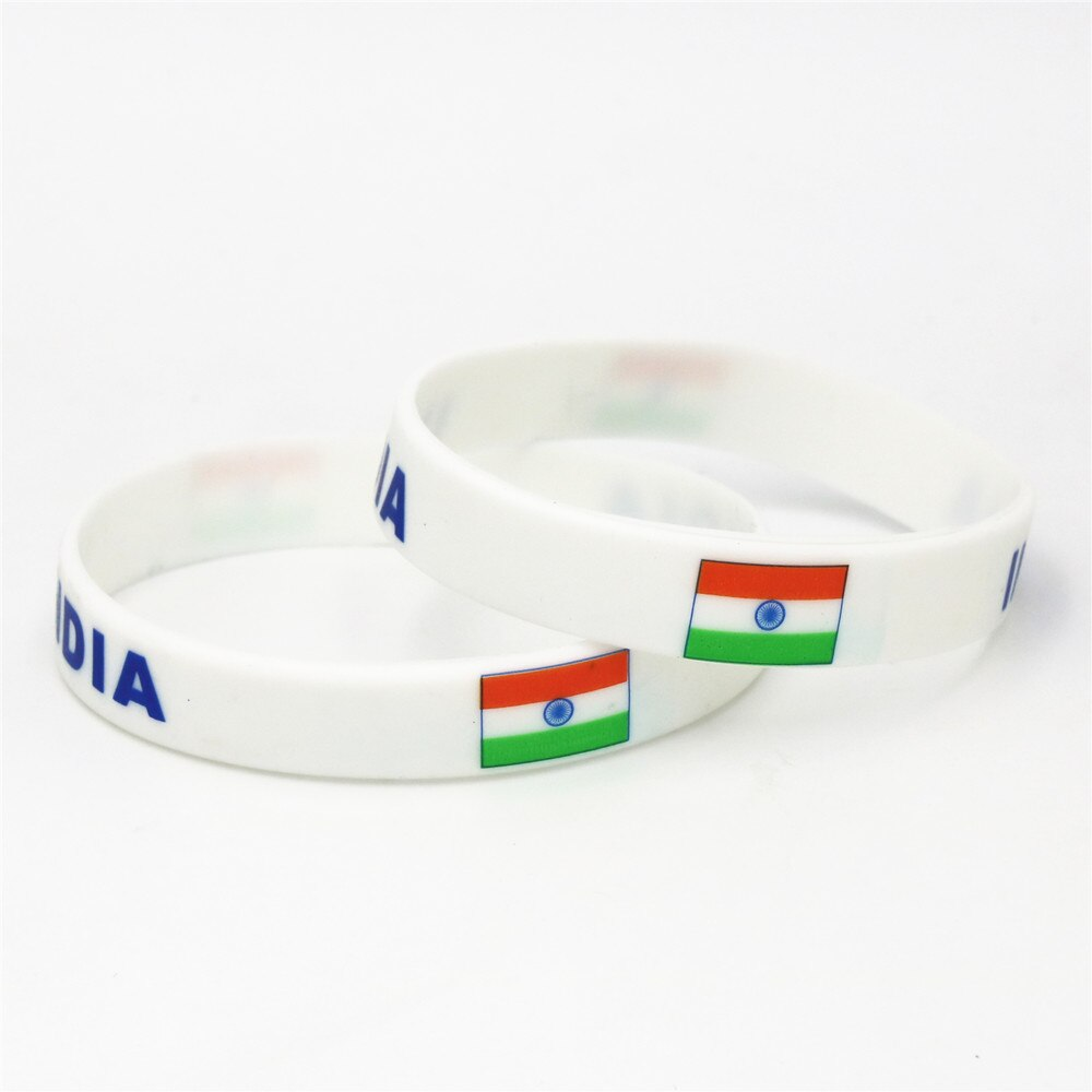 1Pc India Flag Printed Silicone Elastic Rubber Wristband/Bracelet