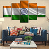 Canvas 5 Pieces Flag Of India HD Print Wall Art Poster for Modern Living Room Decor