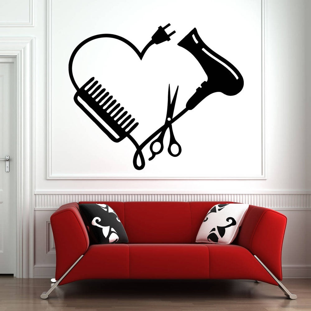 Removable Scissors and Comb Heart Pattern Wall Stickers for Beauty Salon
