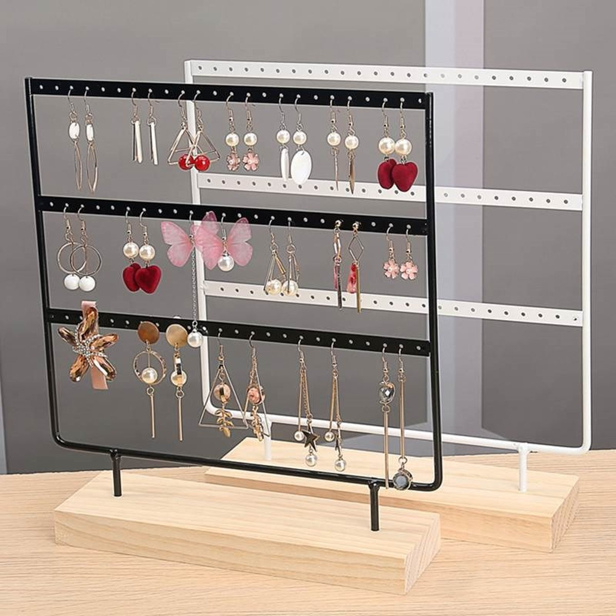 3 Tier 36/57/69 Holes Wooden Earrings Jewelry Organizer Display Holder Stand