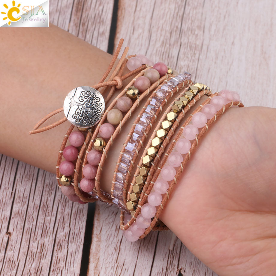 Natural Rose Quartz Gemstone Crystal Beads Bohemia Bracelet for Women