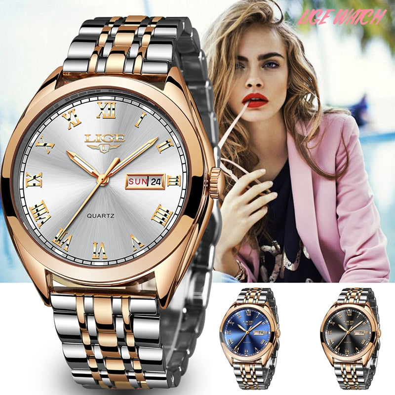 Top Brand New Rose Gold Quartz Ladies Wrist Watch