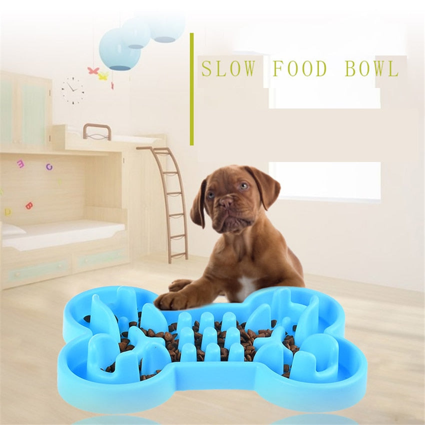 Anti Choke Travel Healthy Soft Rubber Slow Food Feeder Bowl for Pets