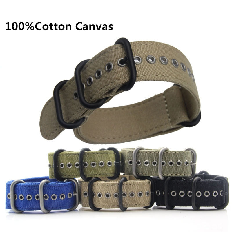 Waterproof High-grade Canvas NATO Strap Outdoor Sports Thick Nylon Strap for Watch