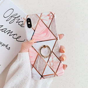 Electroplate Geometric Marble Ring Holder Phone Case For iPhone 11 Pro Max XR X XS Max 7 8 6 Plus