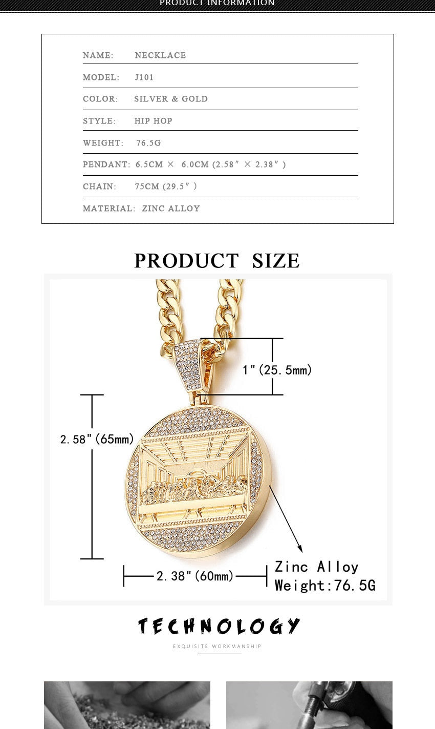 Fashionable Big Jesus Iced Out Bling Zircon Gold/Silver Charm Pendant Necklace For Men