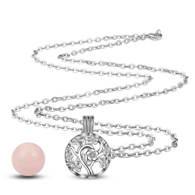 Fashionable 18mm Plated Silver Harmony Bola Ball Peach Tree Locket Cage Pendant for Women