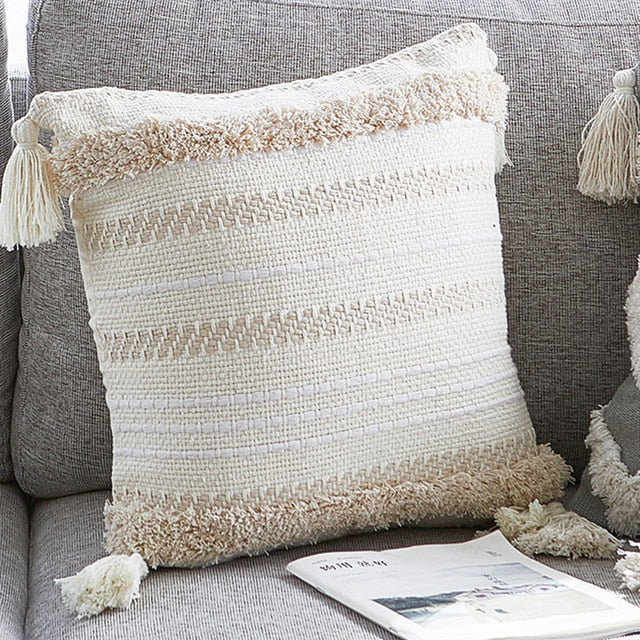 Classy Design Woven Modern Large Tassel Cushion Cover for Decor