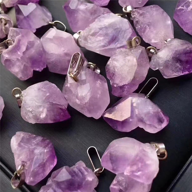 Hot Selling New 24pcs/lot Natural Stone Amethysts Chakra Reiki Point Jewelry Pendants