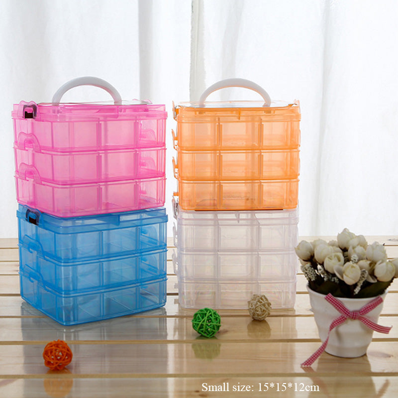 16/30 Slots 3 tiers Plastic Makeup Organizer Jewelry Storage Box
