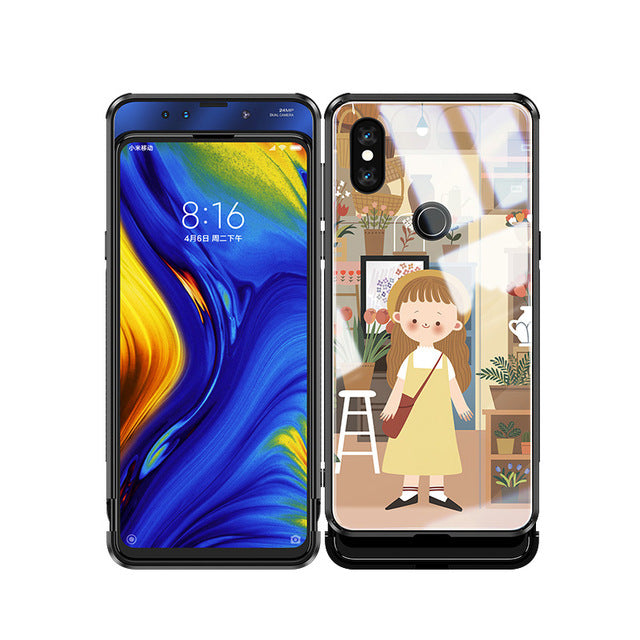 Eye Catching Slide Glass Painted Phone Case For Xiaomi Mix 3