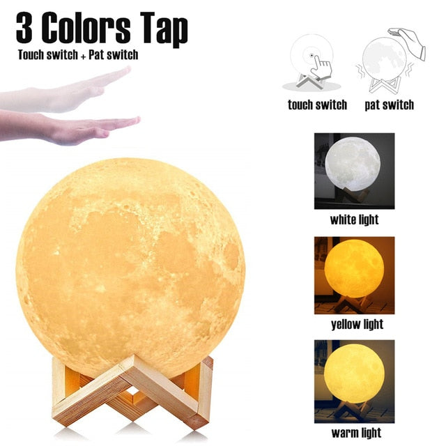 LED Dimmable Touch/Pat/Remote Switch Rechargeable Bedside Table Desk Moon Lamp