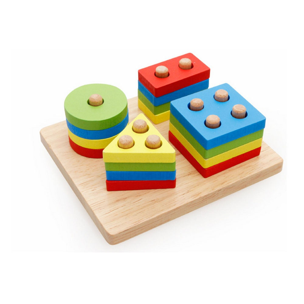Attractive Wooden Pole Geometry Shape Intelligence Interesting Math Educational Montessori Toys For Children