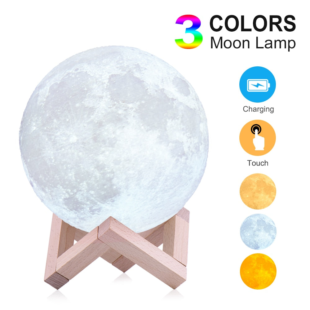 USB Charging and Touch Control Brightness 3D Printed Moon Light Night Lamp