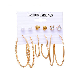 Minimalist Mixed Fashion Rhinestone Pearl Geometric Flower Heart Star Stud Small Earrings Set For Women