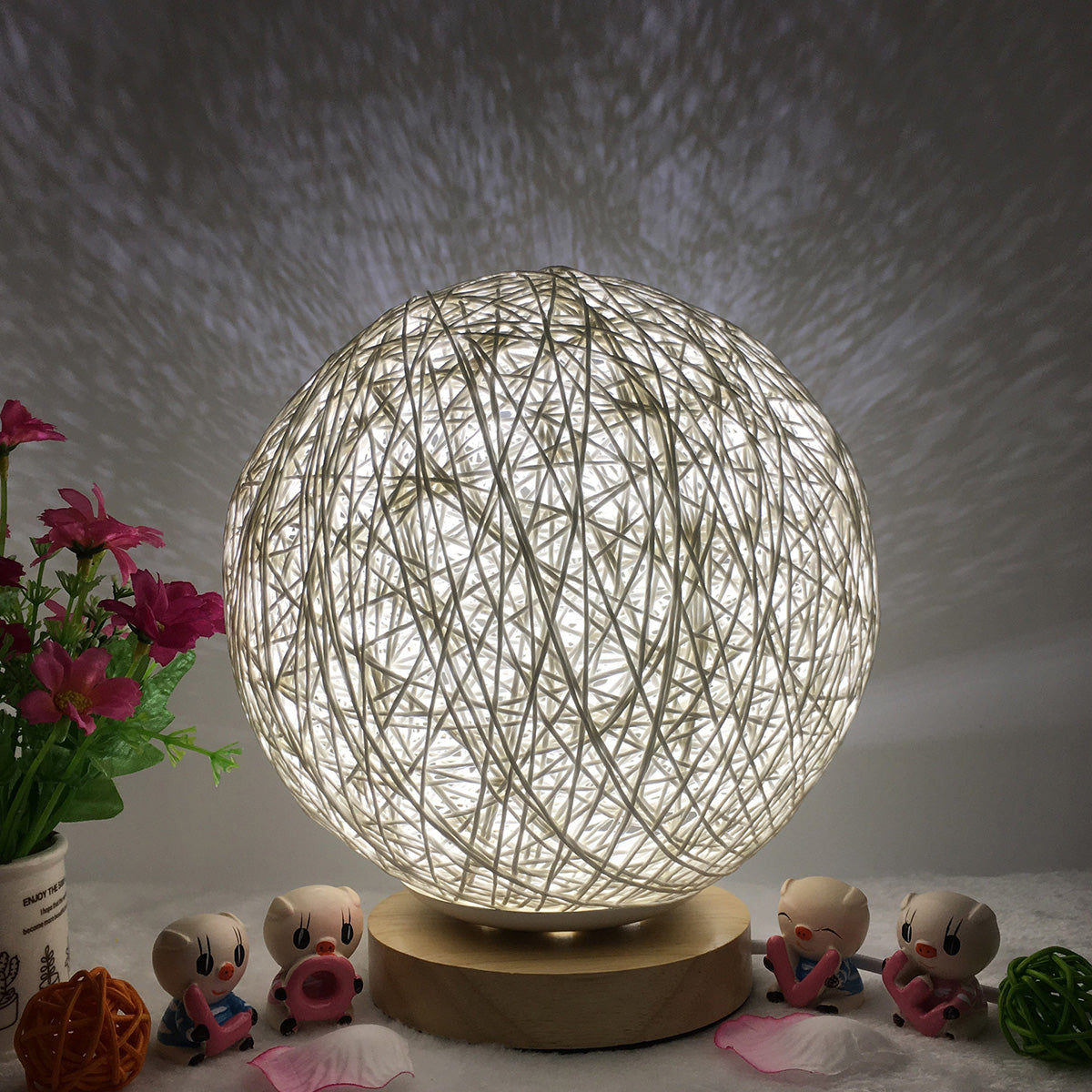 Creative Hand-Knit Lampshade Wooden Moon Lamp