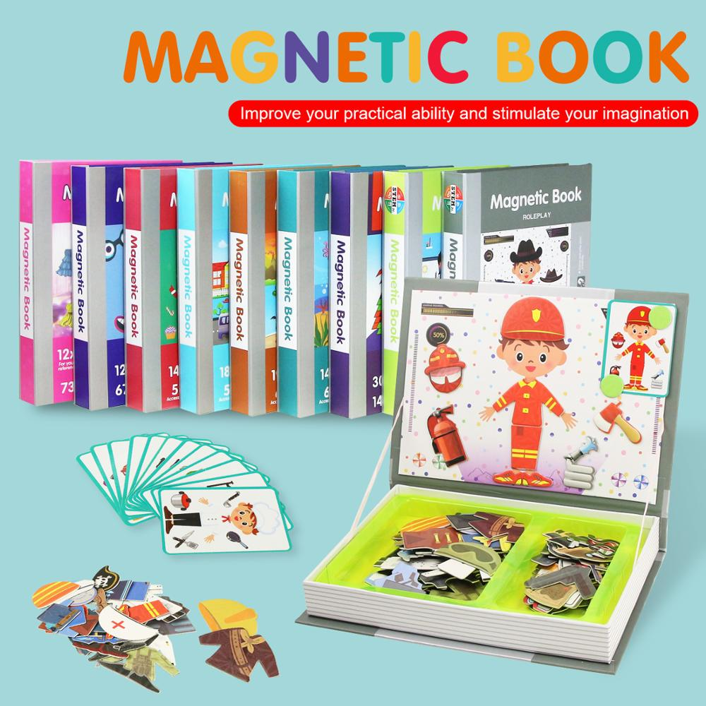 10 Types 3D Puzzles Intelligent Magnetic Book Brain Training Educational Toys for Kids