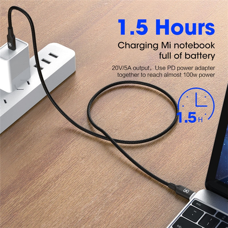 100W Magnetic USB Type C Charging Cable for Macbook Pro Laptop Mobile Phone