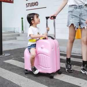Kids Cute Carry On Trunk Trolley Luggage Bag for Travel