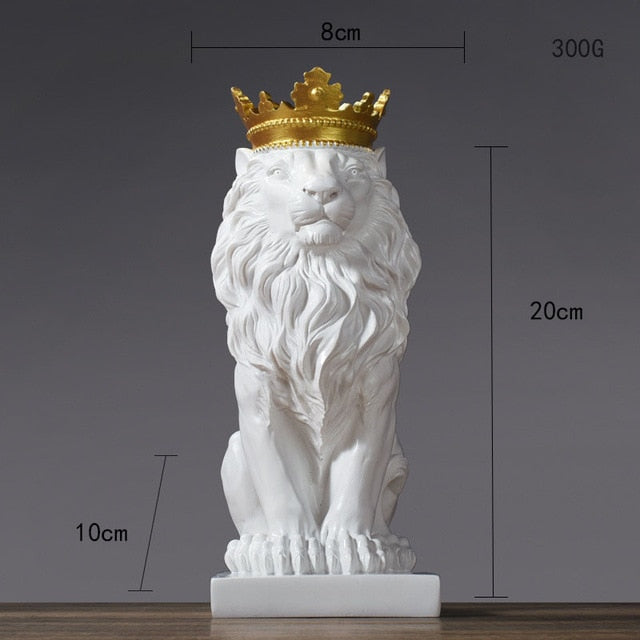 Nordic Handicraft Golden Crown Lion King Statue for Home Office Decoration