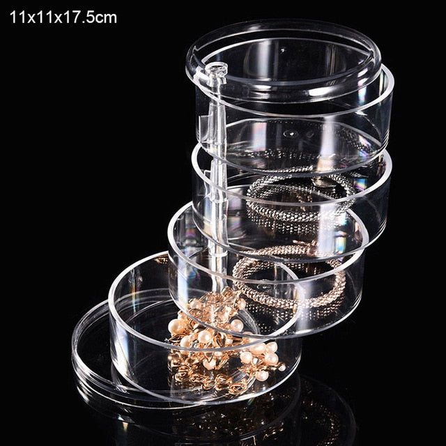 Creative 4 Layers Rotatable Makeup Container Jewelry Storage Box
