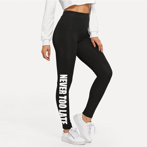 NEVER GIVE UP Printing Activewear Leggings for Women
