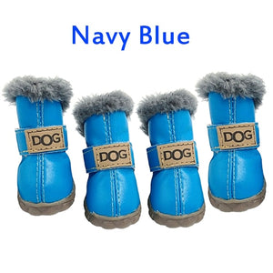 4Pcs/Set Cotton Non Slip Waterproof Shoes for Small Dogs