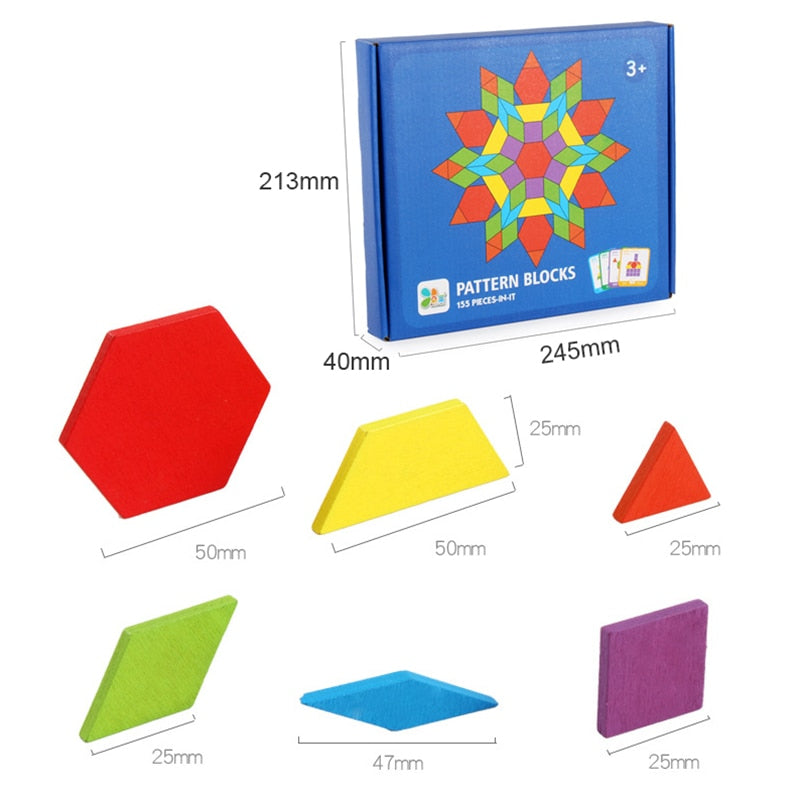 Hot Sale 155pcs Wooden Jigsaw Colorful Montessori Educational Puzzle Toys Set for Children