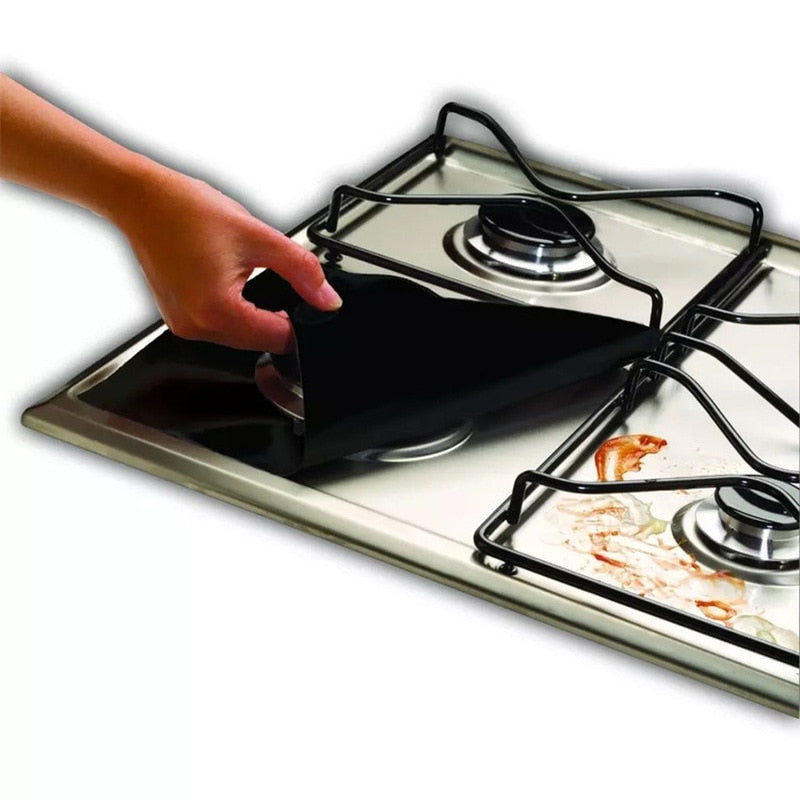 Liner Gas Stove 1/4PC Stove Burner Protector Cover Mat Kitchen Accessories