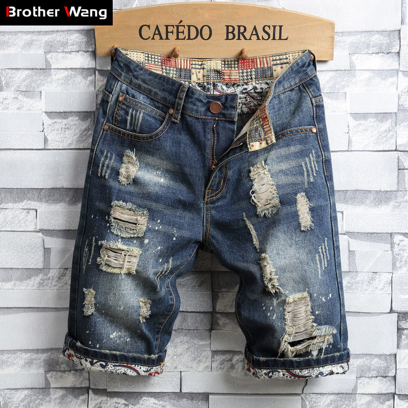 Summer New Fashion Men's Casual Slim Fit Hole Denim Shorts