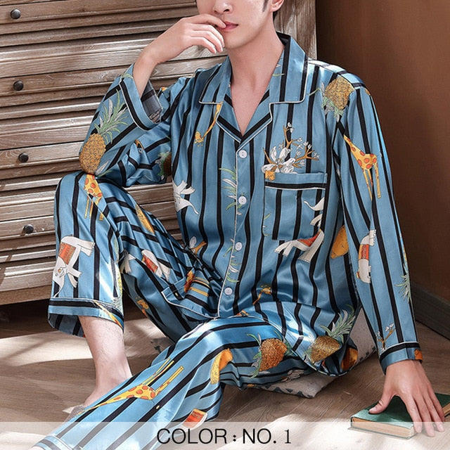Satin Silk Loungewear Long Sleeve Printed Casual Men's Pajamas Sets