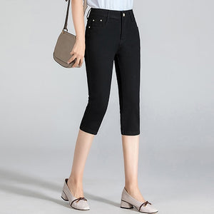 High Waist Stretch Knee Length Skinny Denim Capris For Women