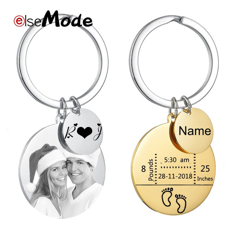 Personalized Stainless Steel Engraved  Customized Photo Keychain