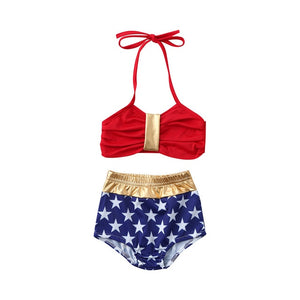 Top Selling 2pcs Backless Swimsuit Bikini for Baby Girl