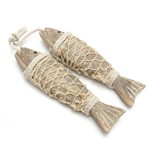 2pcs Hand Carved Hanging Marine Coastal Wooden Fish Sculptures for Home Decor