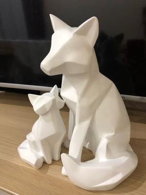 2pcs/lot 26cm Simple White Abstract Geometric Mother and Son Fox Sculpture for Home Decor