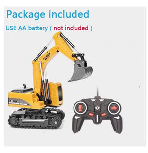 2.4Ghz 6 Channel 1:24 RC Excavator Toy RC Engineering Car Alloy and Plastic Excavator RTR For Kids