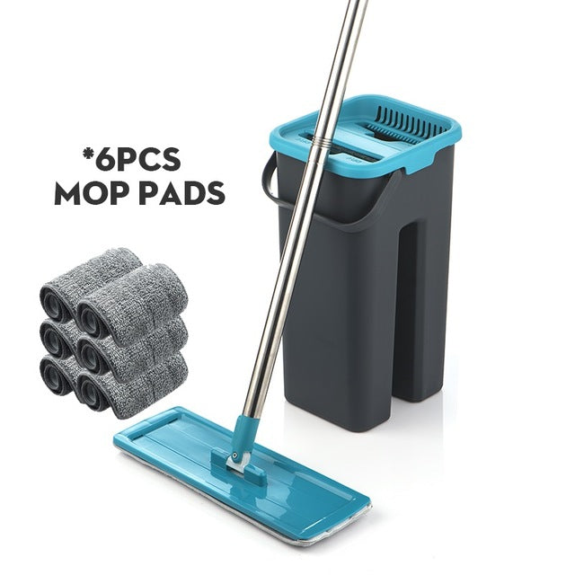 Hand Free Wringing Floor Cleaning Microfiber Mop with Bucket