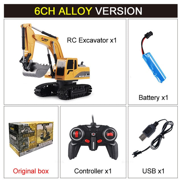 2.4GHz 6 Channel 1:24 RC Engineering Car Alloy And Plastic Excavator For Kids