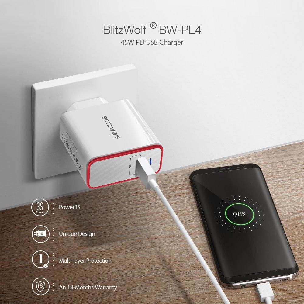 45W USB PD Quick Charge Type C Phone Fast Charging Wall Charger EU Plug For iPhone 12